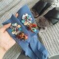Корейских женщин носки смешно Ручной Работы стразы цветы женские носки low cut мода Творческой новизны Kawaii Искусство Носки
