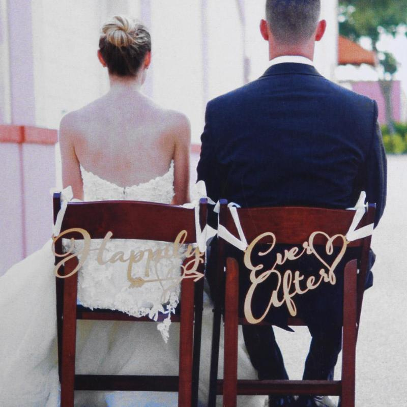2Pcs/lot Bride and Groom Chair Signs Rustic Wedding Wooden Chair Sign Wood Signs Photo Props Wedding Decoration Photography Sign
