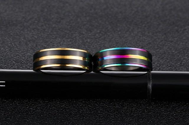 Фото рекомендуемые модные мужские кольца из нержавеющей стали черного