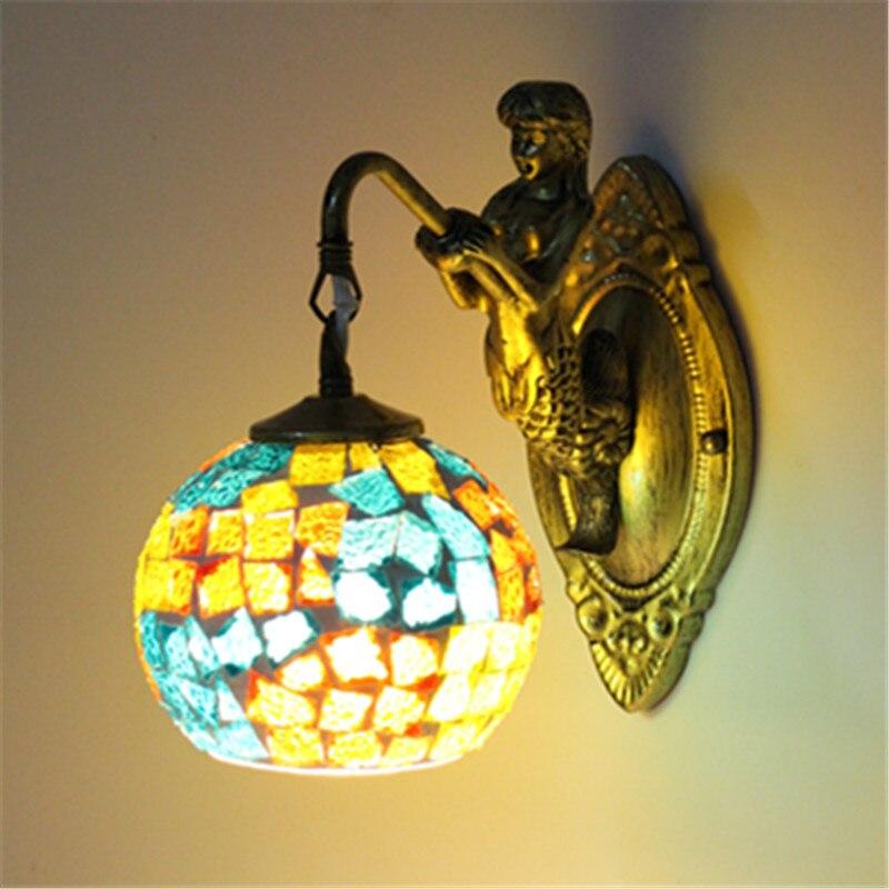 New Mittelmeer stil Art Deco Türkische Mosaik Wand Lampe Handarbeit mosaik Glas romantische wand licht