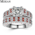 MDEAN Genuine 925 Sterling Silver Solid Jewelry Engagement Pure Square CZ Diamond Ruby Wedding Ring Sets for Women Bague MSR555