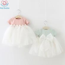 лучшая цена Herbabe 2019 Cute Baby Girls Princess Dress Lace Bowknot Formal Dresses Kids Birthday Wedding Party Dress Little Girls Ball Gown