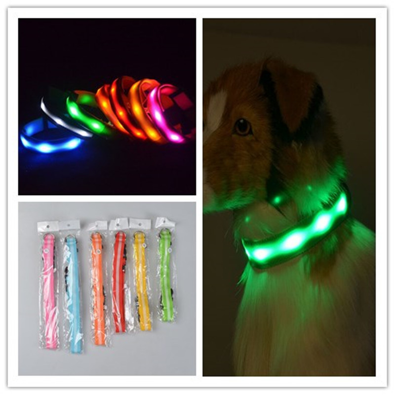 A24 led Dog Collar For Dogs Nylon Night Safety Glow Flashing collar 2.5 cm width striped led collar