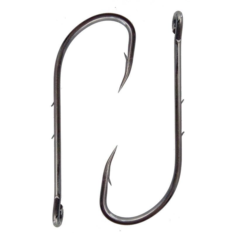 100pcs 92247 high carbon steel fishing hooks black offset for Barbed fishing hook