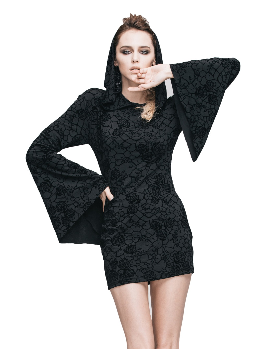Steampunk Gothic Ukraine Black Dresses For Women Roses Print Flocking Knitted Dress With Hooded Long Sleeve Women Clothing 8