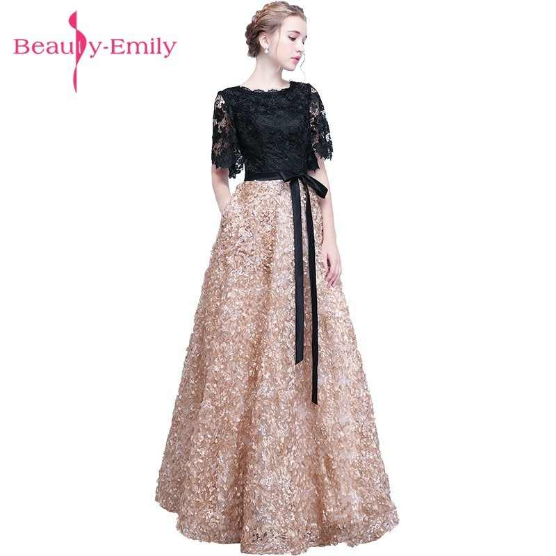 Beauty Emily Luxury Lace Black Evening Dresses 2019 O neck Long Party Prom  Dresses Plus Size 25bfebd75d33