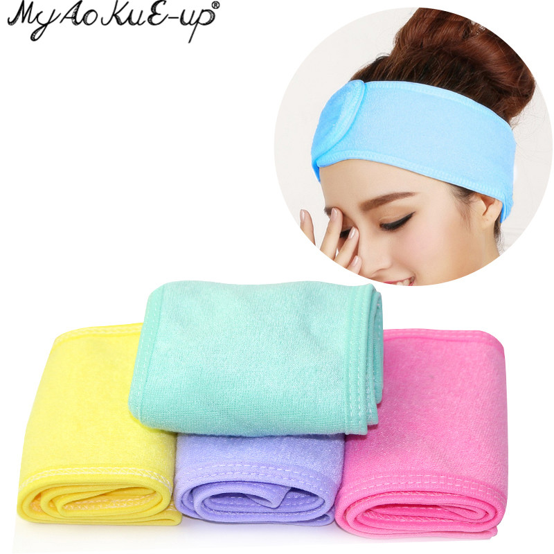 Facial Headband Make Up Wrap Head Terry Cloth Headband Stretch Towel with Magic Tape Makeup Headscarf Extension Eyelashes Tools(China)