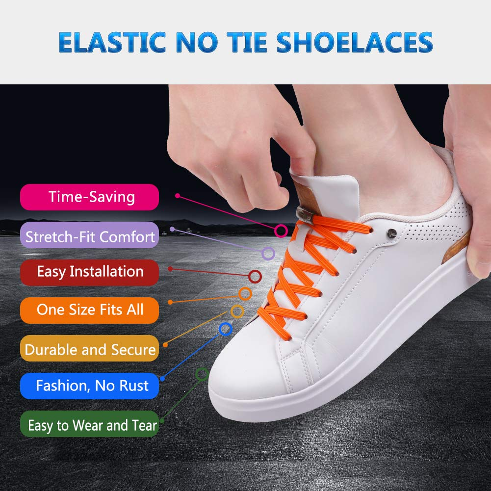 3 Pairs Elastic Lazy No Tie Silicone Easy Flat Shoelace for Kids and Adults