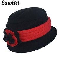 Lawliet Femmes Hiver Chapeaux Vintage Style Bonnet de Laine Mignon Béret dames Chapeaux À La Mode Bowler Fleur Derby Cloche Chapeaux Chaud Femelle Cap