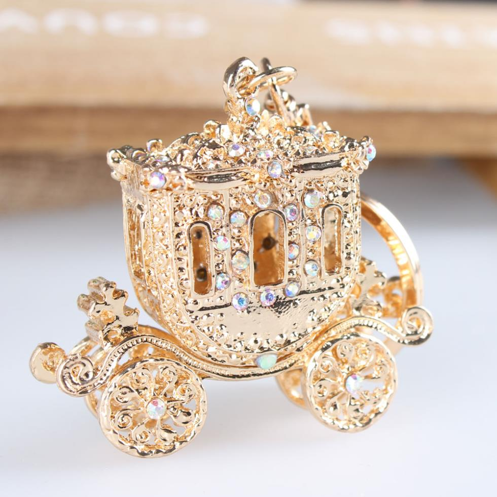 Wedding Royal Carriage Crystal Rhinestone Charm Pendant Purse Bag Car Key Ring Chain Creative Party Christmas Gift