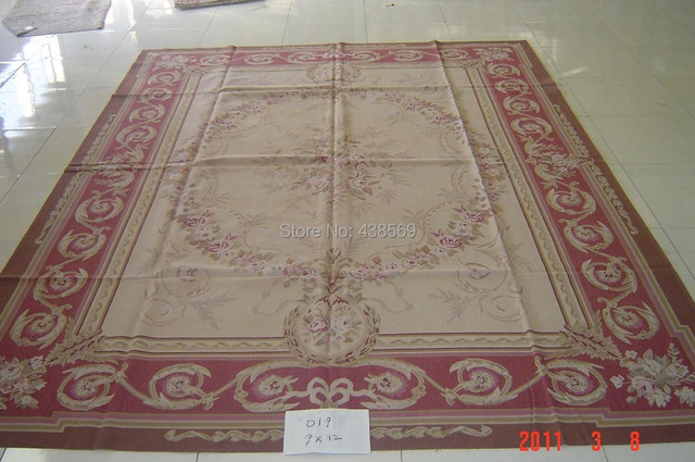 Free Shipping 9 X12 Aubusson Woolen Rugs Red Design Shabby Chic Carpets