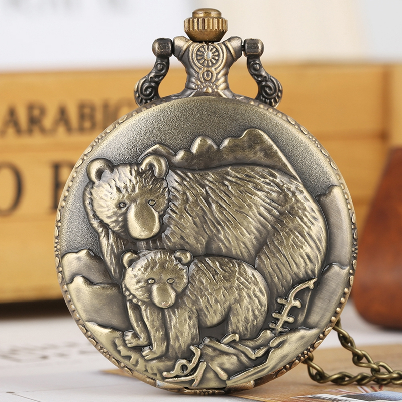 Retro Bronze Polar Bear Figure Necklace Quartz Pocket Watch Bear Baby Pattern Chain Pendant Gifts For Men Women Jewelry Reloj