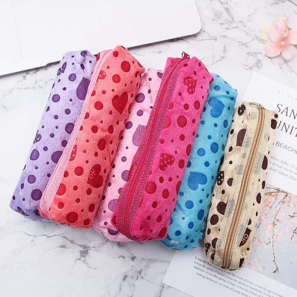 Makeup-Case Pencil-Bags Velvet Female Zipper Dot Cute Girl Long 1PC Candy Heart-Printed