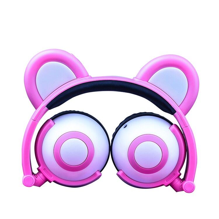 Pink Glowing Kids Headphones Wired Stereo Cute Bear Ear Headset Best Gift For Girls