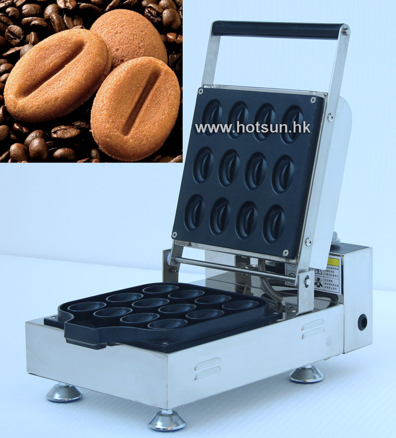 Free Shipping Commercial Non-stick Electric Coffee Bean Waffle Maker Iron Machine Baker free shipping commercial use non stick 110v 220v electric 8pcs square belgian belgium waffle maker iron machine baker