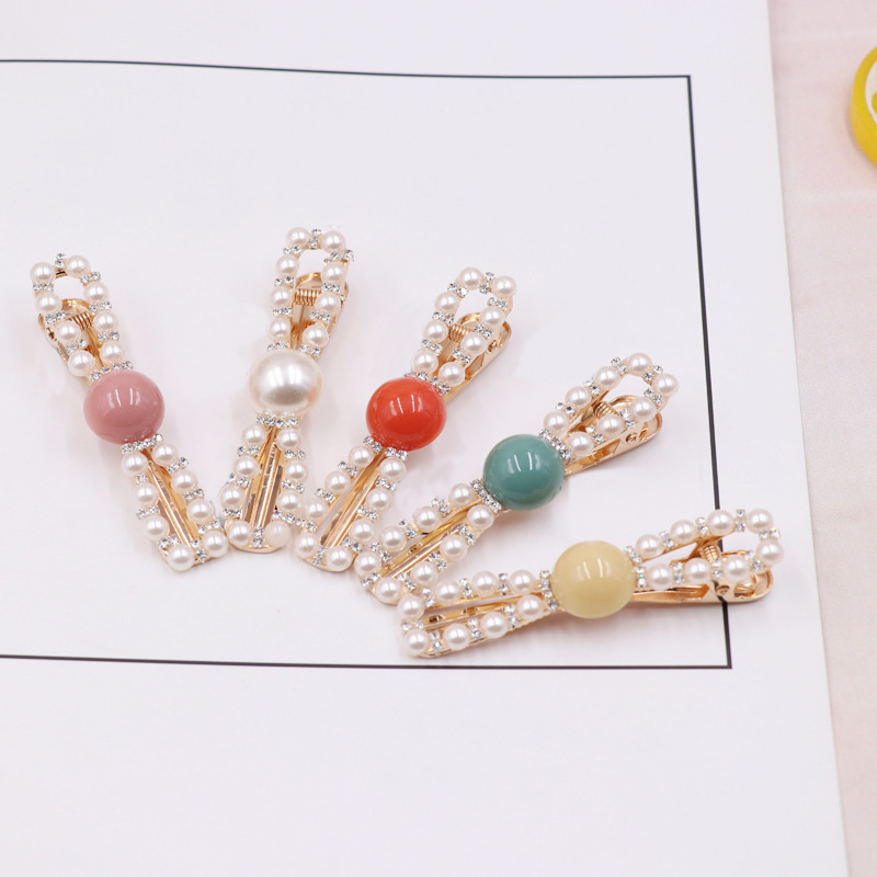 New Fashion Creative Candy Color Alloy Acrylic Side Clip Pearl Hairpin Hair Accessories Bow Knot Hair Clips in Women 39 s Hair Accessories from Apparel Accessories