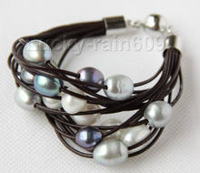"shippingGenuine 8"" 13mm 15row black gray pearls wine red leather bracelet e2404 5.25(China)"