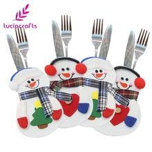 Lucia crafts 1 шт./лот 15*10 см Рождественский орнамент Снеговик сумка для посуды для стола новогодние вечерние аксессуары для домашнего декора H0357