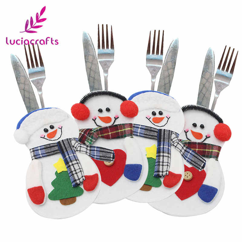 Lucia crafts 1piece/lot 15*10cm Christmas Ornament Snowman Cutlery Bag For Table New Year Party Home Decor Accessories H0357