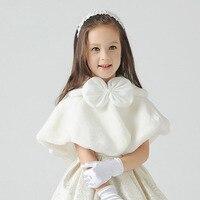 Mode schöne Elfenbein/Rot/navy pelzcape Mäntel Faux Pelz Winter Wrap Kid Shrug Oberbekleidung Mäntel mädchen capes jacken für kleid