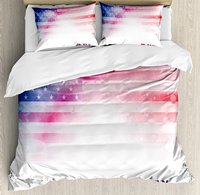 4th of July Duvet Cover Set , American Flag with Dreamy Design Stars and Stripes Grunge Artistic, 4 Piece Bedding Set