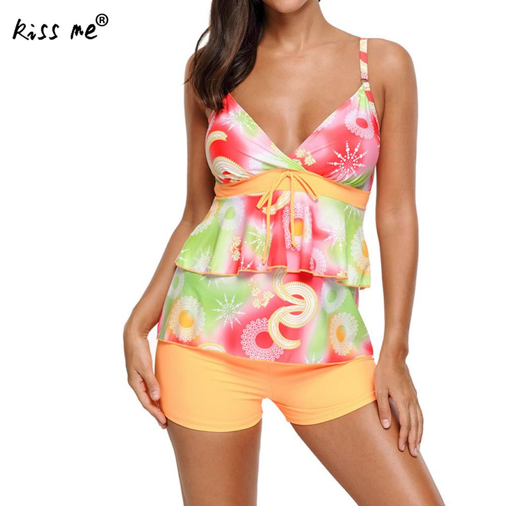 2 Pieces Bikini 2017 Plus Size Swimwear Female Floral Swimsuit Women with Shorts Tankini Set Pushup Bathing Suit Beach Wear