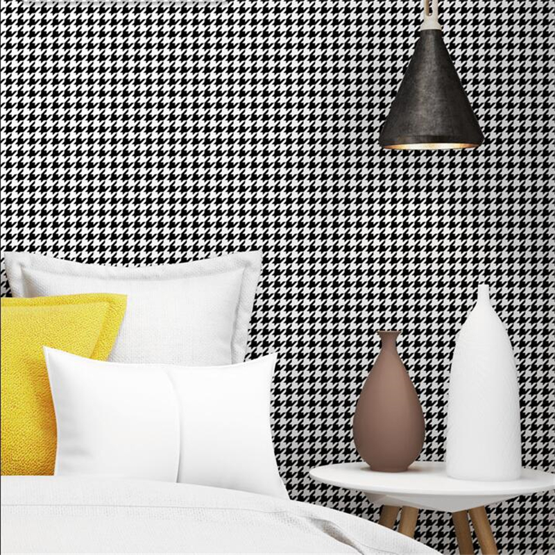 Beibehang New Houndstooth Black And White Plaid Wallpaper Modern Minimalist Plain Nordic Style Ins Bedroom Living Room Wallpaper