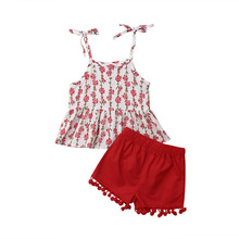 Toddler Kids Baby Girls Outfits Clothes Floral T-shirt Sleeveless Strap Tops Tassel Short Pants 2PCS Clothes Set 2019 стоимость