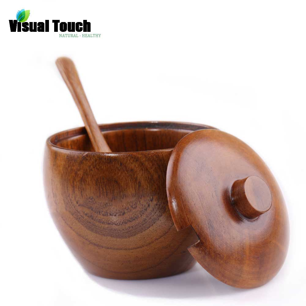 Sugar bowls with lids - Visual Touch Nature Solid Wood Sugar Jar With Lid With Spoon Spice Bowl Salt Container
