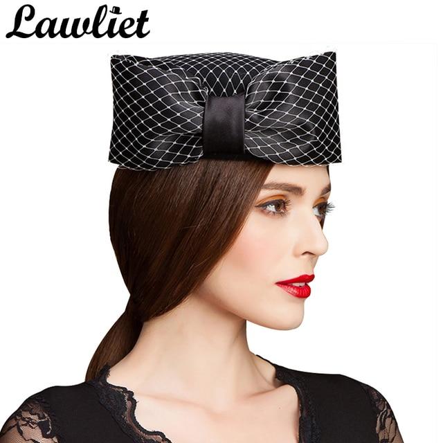 09c76bb15f7c6 Women Fedoras Fascinators Hats Veil Trimmed Bow Womens Dress Wool Felt  Pillbox Hat Formal Church Wedding