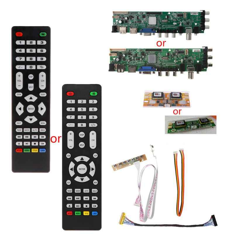 New V56 V59 LCD TV Driver Board DVB-T2+7 Key Switch+IR+4 Lamp Inverter+LVDS Kit 3663