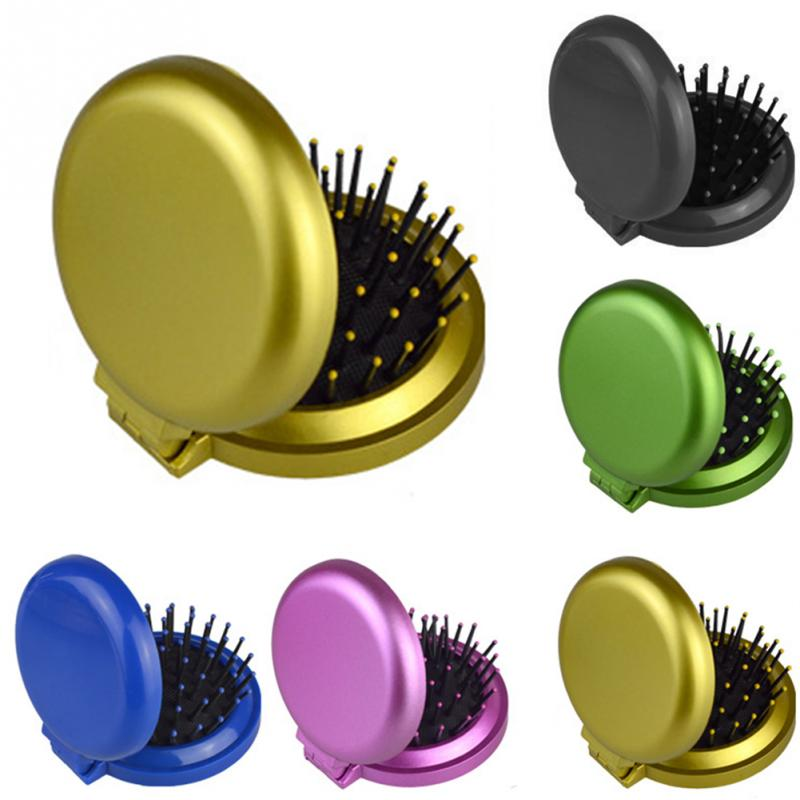 1pc Portable Round Hair Comb Pocket Small Size Travel Massage Folding Comb Girl Hair Brush With Mirror Styling Tools