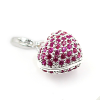 Authentic 100 Real 925 Sterling Silver Heart Charm With Pink Rhinestone Thomas Style Jewelry Club Gift