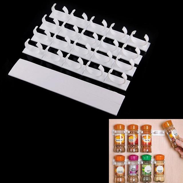 4pcsset 20 Cabinet Door Hooks Spice Wall Rack Storage Plastic