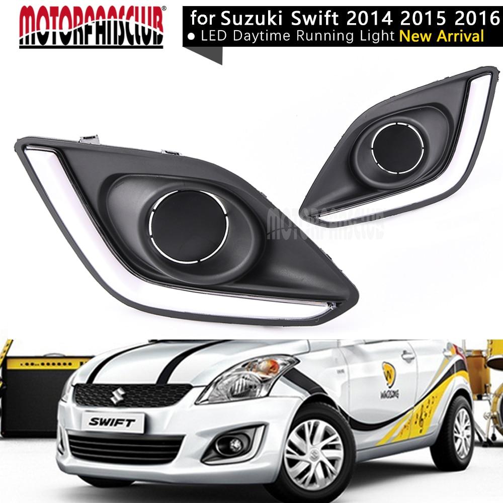 MOTORFANSCLUB Pair LED Daytime Running Light DRL Fog lamp for Suzuki Swift 2014 2015 2016 Waterproof