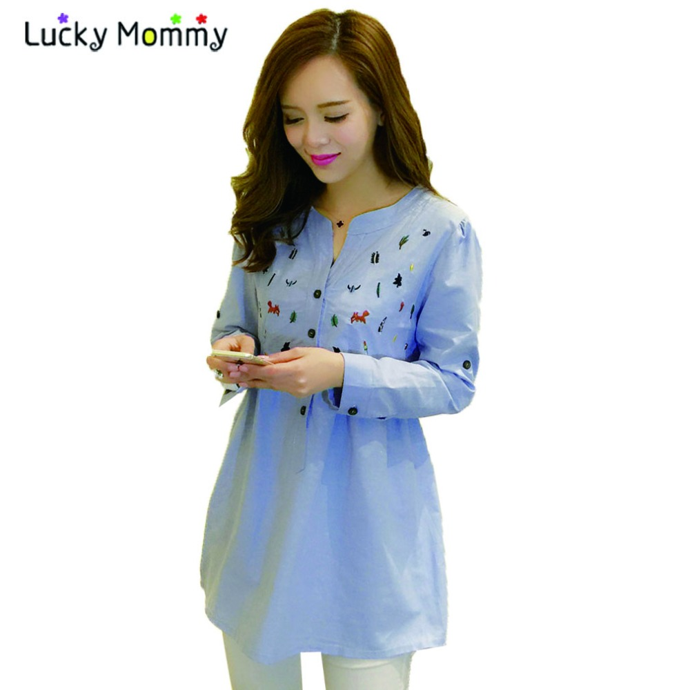 Plus Size Maternity Blouses Shirts For Pregnant Women Long Sleeved Blue Pregnancy Shirt Pregnant Blouse Spring Maternity Clothes
