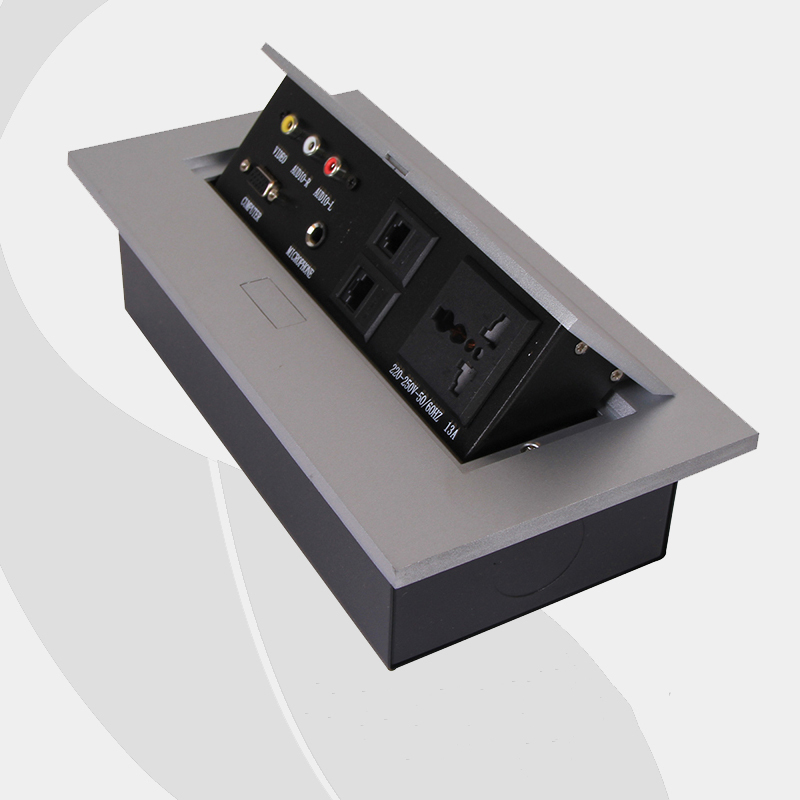 Multifunctional Alloy Tabletop Socket Conference Table Multimedia Panel 220 250V 50 60Hz