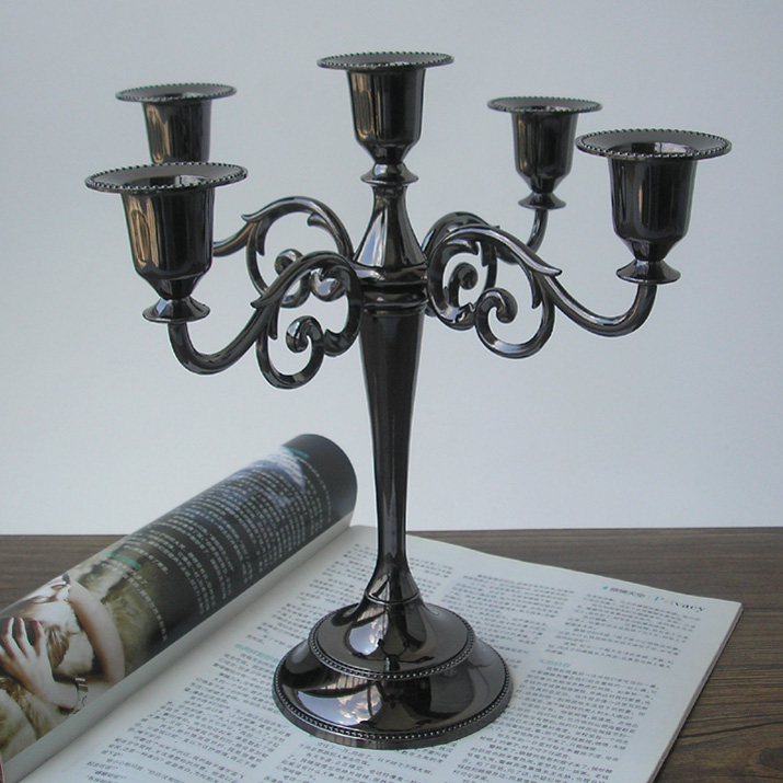 classic 5arm metal candlesticks black candle holder home ...