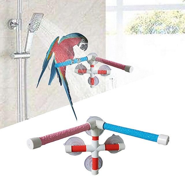 High Quality Parrot Bath Shower Standing Platform Rack Parrot Climbing and Biting Shower Perch Parakeet Bird Toy Random Color