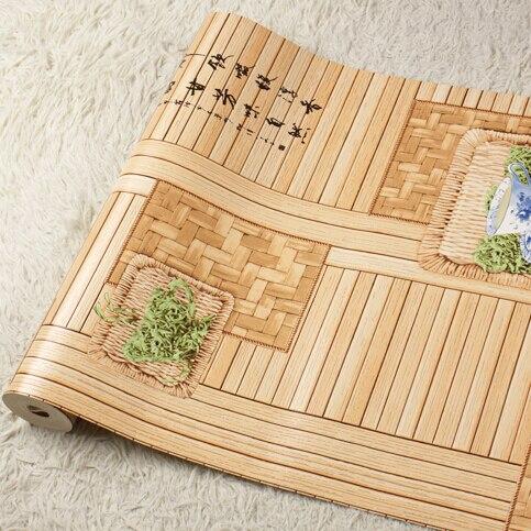 Chinois rétro thé restaurant fond d'écran papier peint 3D mural papier peint 3D fleur bambou papier peint salon papier peint rouleau - 5