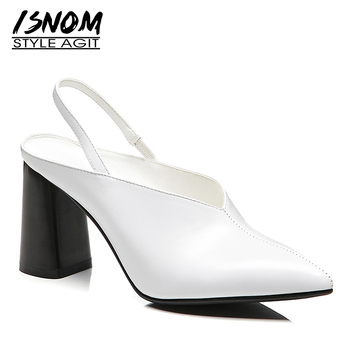 ISNOM Thick High Heels Pumps Women Pointed Toe Footwear Cow Leather Shoes Female Office Shoes Woman 2019 Spring New White