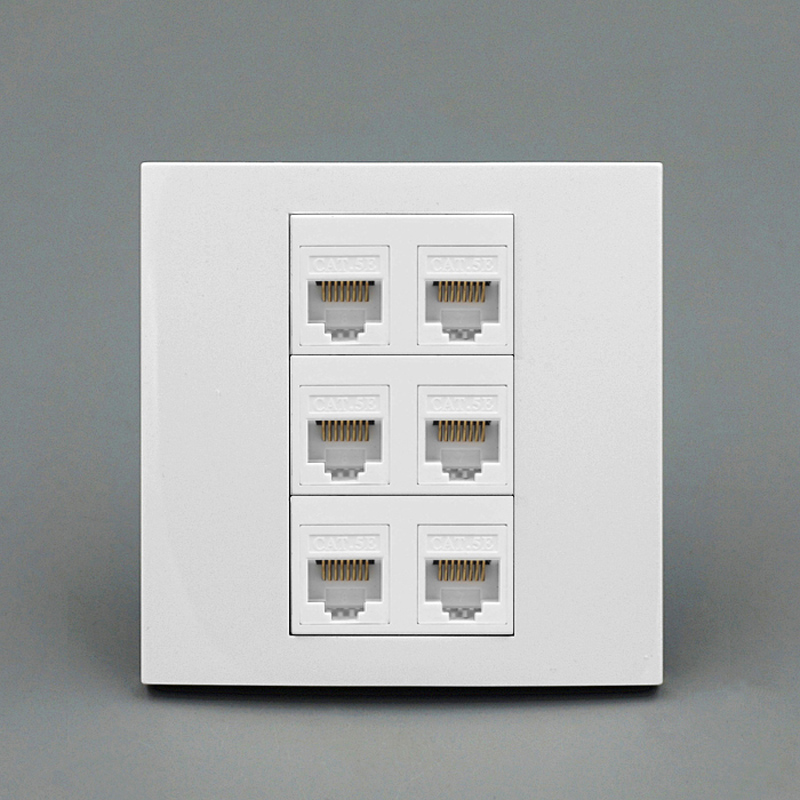 цена на 6 Ports RJ45 5e Network Wall Outlet Socket Internet Interface For Computer Laptop