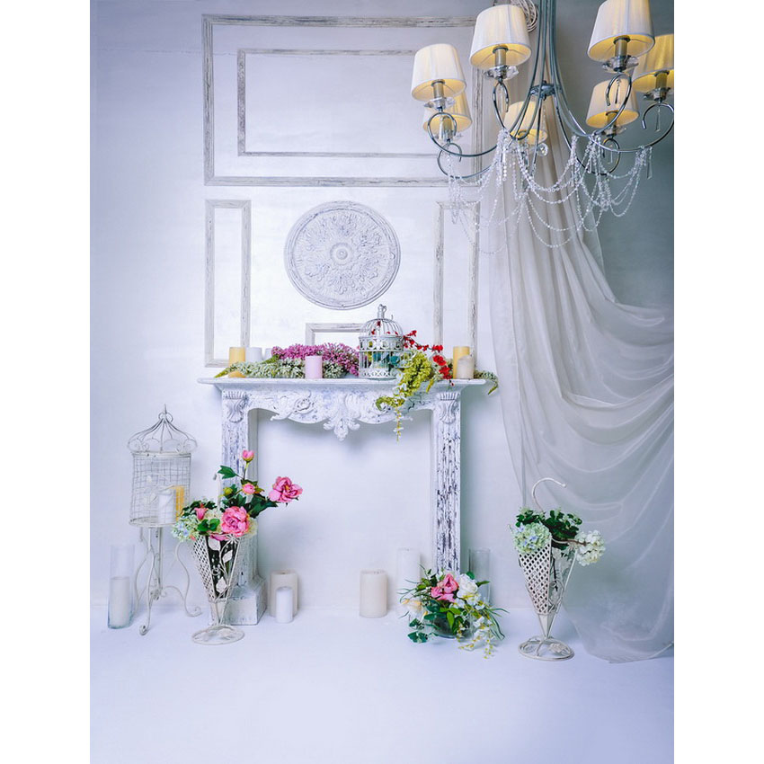 TR White Wall Floor Curtain Pendant Lamp Indoor Wedding Photography Studio Backdrops Candle Flowers Decor Photo Backgrounds Prop