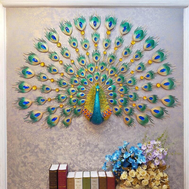 Grande horloge murale luxe paon métal diamant cristal aiguille horloges numériques pour salon décoration de la maison grande horloge murale