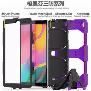 Image 5 - Противоударный чехол для планшета повышенной прочности для Samsung Galaxy Tab A 10,1 2019, T510, T515, искусственная кожа, мягкий силиконовый чехол, чехол