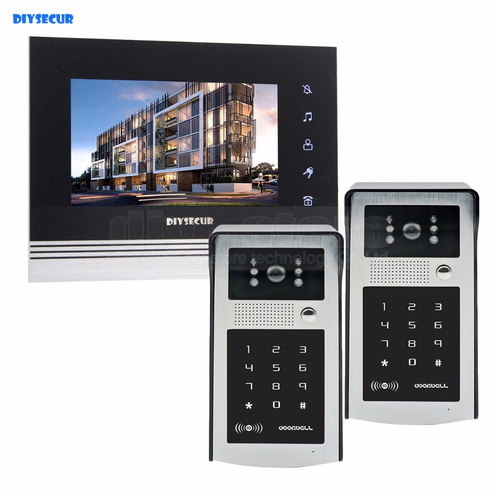 DIYSECUR 7 inch Touch Button Video Door Phone Intercom Doorbell IR Night Vision HD 300000 Pixels RFID Keypad Camera 2V1 diysecur 1024 x 600 7 inch hd tft lcd monitor video door phone video intercom doorbell 300000 pixels night vision camera rfid