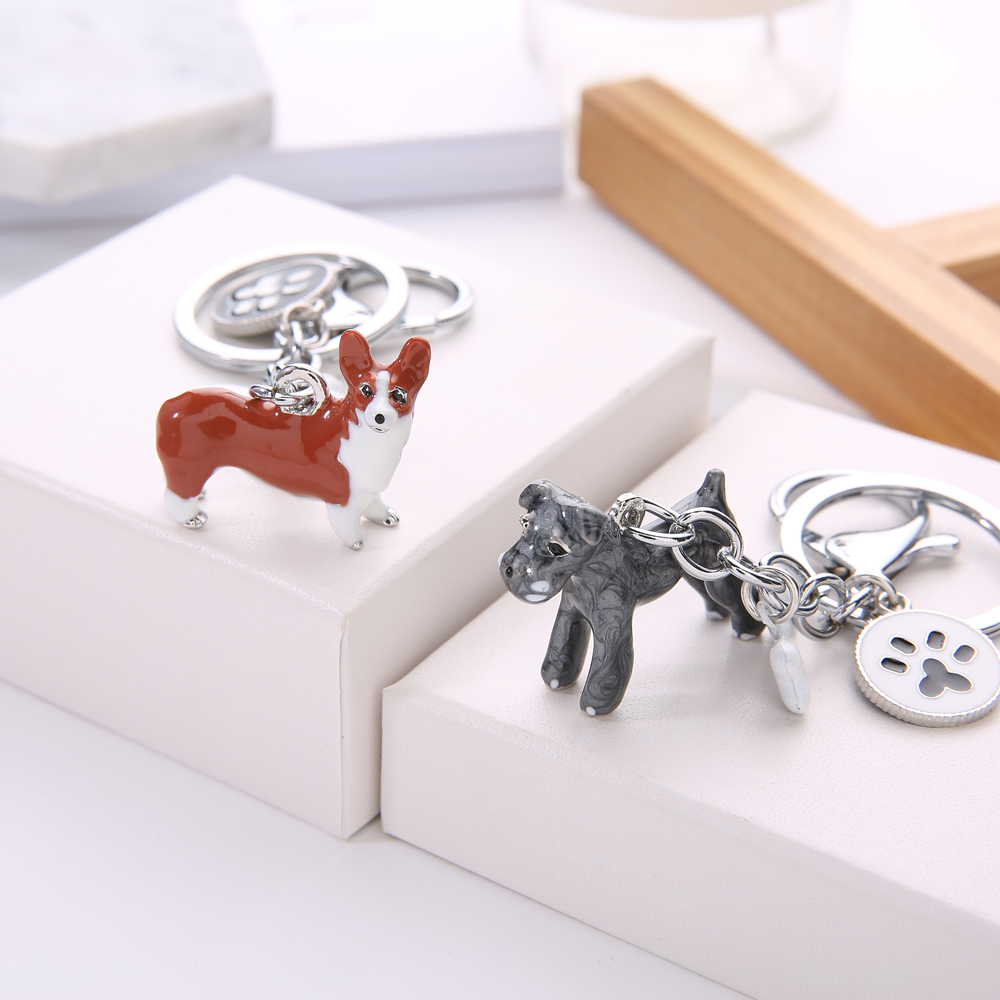 Fashion 3D Pet Dog Keychains Cute Dogs Key Ring Border Collie Shelti Husky Metal Car Keychain Jewelry Woman Bag Charm Gift