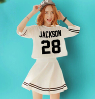 Kpop got7 member name printing two pieces short sleeve dress for women's summer style cropped mini vestidos set black white