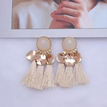 Statement Earrings 2019 Long Drop Tassel Earrings for Women Vintage Ethnic Dangle Gold Metal Color Earing Hanging Jewelry EB802(China)