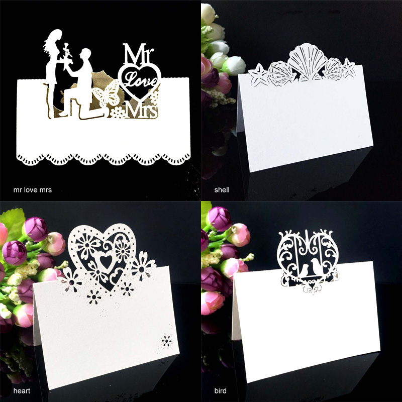 50pcs/Set Wedding Invitation Card Postcard Laser Cut Hollow Table Card Butterflies Flower Heart Shape Place Cards Party Supplies